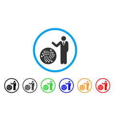 Businessman show iota rounded icon vector