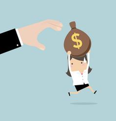 Businesswoman runs away boss hands to steal money vector