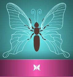 Butterfly card blue vector