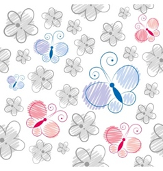 cartoon butterflies pattern vector image