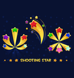 Cartoon different shooting colored stars vector