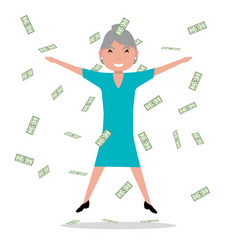 Cartoon grandmother jumping falling money vector