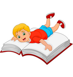 cartoon little boy with big book vector image