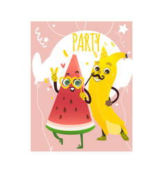 cartoon watermelon banana party character vector image