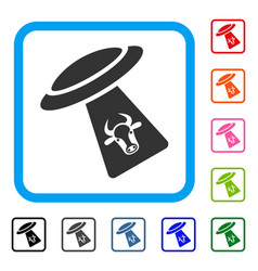 Cattle ufo abduction framed icon vector