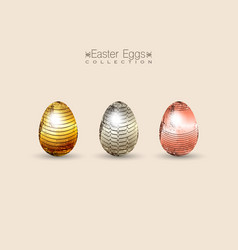 chocolate set eggs decorated with gold for easter vector image