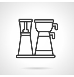 Coffee maker with pot black line icon vector