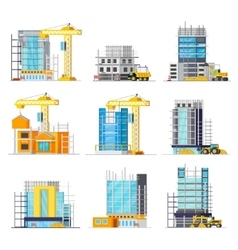 Construction Of Buildings Orthogonal Icons Set vector