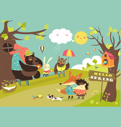 Cute animals walking in spring forest vector