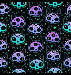 cute cartoon witchcraft cat skull seamless vector image