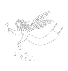 Cute fairy with magic wand antistress coloring vector