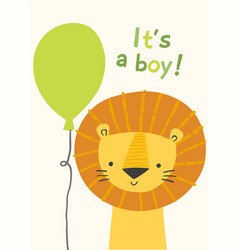 Cute lion character bor a boy baby shower vector