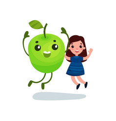 cute little girl having fun with giant green apple vector image