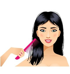 Cute young woman combs hair eps10 vector image