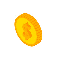 dollar coin isometric object vector image
