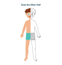 Draw other half game for kids dot to dot vector