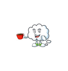 Drinking in cup cloud bubble with cartoon vector