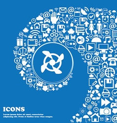 Fan Icon sign Nice set of beautiful icons twisted vector