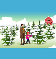 father and son shopping for a christmas tree vector image