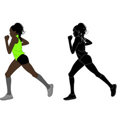 female marathon runner vector image