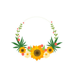floral wreath circle frame with sunflowers design vector image