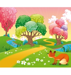 Fox in the wood vector