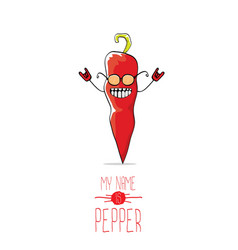 Funny cartoon red pepper character isolated vector