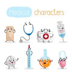 Funny medicine equipment cartoon characters vector