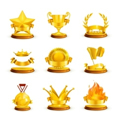 Gold awards set vector