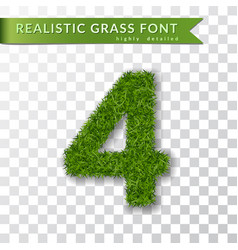 Grass number four green number four isolated on vector