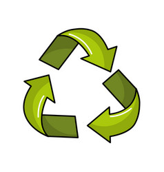 Green recycling symbol to care planet vector