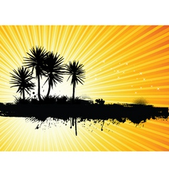 grunge palm tree vector image