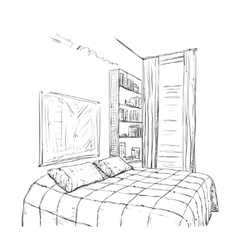 Hand drawn bedroom interior sketch vector image