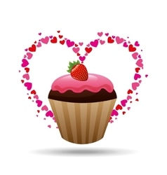 heart cartoon cupcake chocolate pink cream and vector image