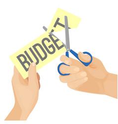 Human hands and budget cut vector