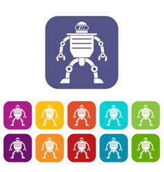 Humanoid robot icons set flat vector