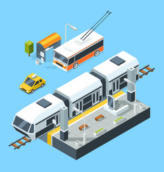 isometric public transport stations bus and train vector image