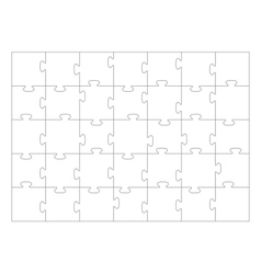 Jigsaw Puzzle Template 35 Pieces Royalty Free Vector Image