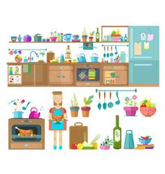 Kitchen interior designset elements vector