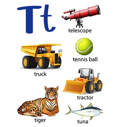 Letter T for telescope truck tennis ball tractor vector image