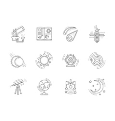 Linear icons collection for astronomy vector image