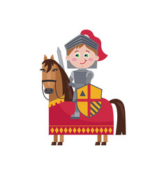 Little knight in iron armor on horse vector