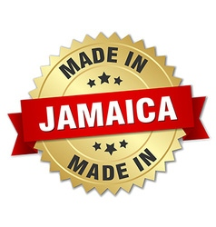 Made in Jamaica gold badge with red ribbon vector