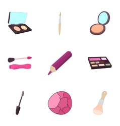 Makeup icons set cartoon style vector