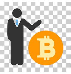 Manager show bitcoin coin icon vector