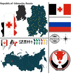 Map of Republic of Udmurtia vector image