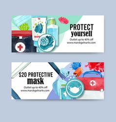 Medical twitter ad design with med kit mask vector