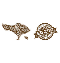 Mosaic map of bali island with coffee beans and vector