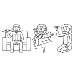 mother father and son characters playing toy vector image