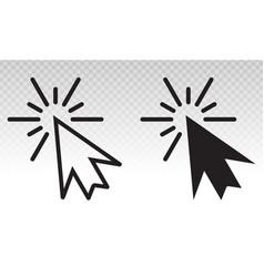 Mouse pointer arrow clicked or cursor click line vector